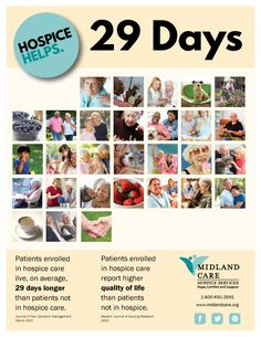 During National Hospice and Palliative Care Month, Midland Care is spreading the word that #HospiceHelps. Learn more about our work at www.midlandcare.org  If you're a not-for-profit hospice provider, you are welcome to use these infographics with your own logo. We want them to be a resource! Contact us to get files you can edit.
