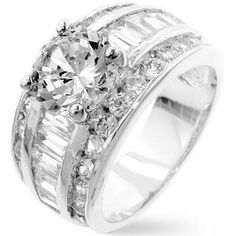 White Gold Rhodium Bonded Classic Anniversary Ring with 2 Carat Centerpiece Crowned on Step Baguette and Channel Set Round CZ in Silvertone Glitzs. $29.70.  beautiful color and plating. majestic ring. Anniversary. Luster Ring