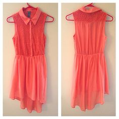 Coral High low Floral Lace Dress Has so many trends all in one dress! High low hem, collar and button down, coral spring/summer color, chiffon all over with under layer, and large flowery lace. Brand new without tags! Fits XS S and M ✅Negotiable Price ✅Bundle Discounts♥️Trades♥️ TRADE VALUE $36 Charlotte Russe Dresses
