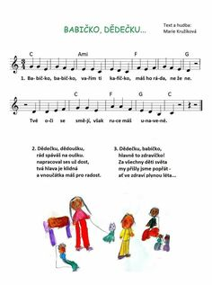 Babičko, dědečku Kids Songs, Sheet Music, Puzzles, Greek Chorus, Language, Children Songs, Puzzle, Songs For Children, Nursery Songs