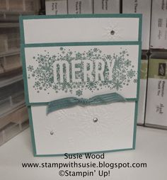 Stampin' Up!- Here is a clean & simple card created 'Seasonally Scattered' & the Northern Flurry embossing folder!