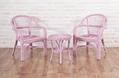 MOLLY GIRL, kid size natural cane table and chairs set