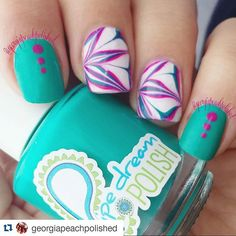 Instagram media by pipedreampolish - #Repost @georgiapeachpolished with @repostapp ・・・ Been on a watermarble kick lately, so here's another one! This one is using pipe dream polish's masquerader, harlequin and happy hour. The white is Milani spotlight white. Topcoat is #hkgirltopcoat. ***ANIVC has been discontinued. For more information visit www.pipedreampolish.com****