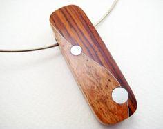 Incrustaciones colgante de madera moderno ooak por RamshackleStudio