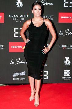 Eva Longoria in Spain wearing nude Christian Louboutin sandals.