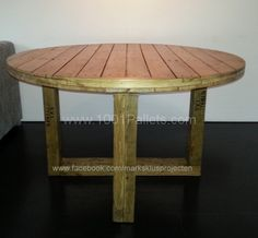 Tafel 1 600x556 Round Dinner Table made with pallets in pallet furniture  with Table Pallets