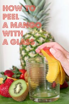 Peel a mango with a glass!
