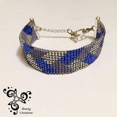 Bracelet Bleu Lavande et Argenté en perles Miyuki  Metier à