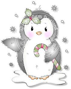 Digital (Digi) pingüino lindo sello. Hace lindas tarjetas de Navidad.