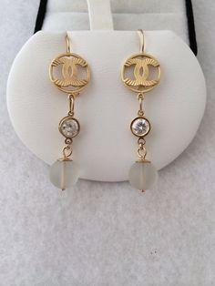 Estate 18K Fine Gold Reverse Double C Design base Dangle Earrings Framed Set Diamond Simulant Suspended below is 10mm Crystal Bead Art