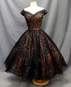From ebay Vtg 50s Sheer BLACK Nude Illusion GLITTER Floral Velvet New Look PARTY DRESS xs