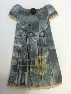 Kirsty Whitehead - Book 3 'Development Dress 2' Theme: British Heritage Inspiration: Jennifer Collier & Rita Zepf & Elizabeth Lecourt Technique: Tea Bag Fabric Template, Image Collaging, Waxing, Selected Stitching With Dangling Thread, Collar & Cuff Detail, Button Detail.