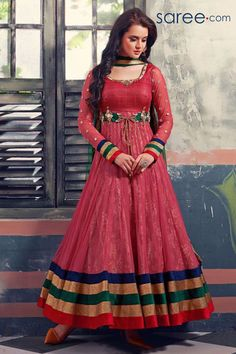 RED GEORGETTE ANARKALI SUIT WITH EMBROIDERY WORK