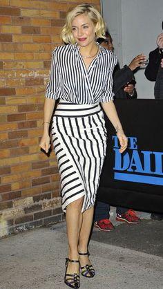 Sienna Miller in Striped Altazurra