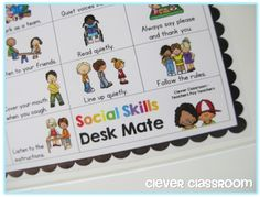 FREE Social Skills desk strip, perfect as reminders of classroom expectations. http://cleverclassroomblog.blogspot.com.au/2014/09/free-social-skills-flippy-book-and-desk.html