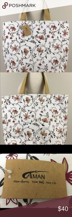 Shop Women's AMAN White Tan size OS Totes at a discounted price at Poshmark. New Charmed, Fashion Tips, Fashion Design, Fashion Trends, Totes, Reusable Tote Bags, Drop, My Favorite Things, Womens Fashion