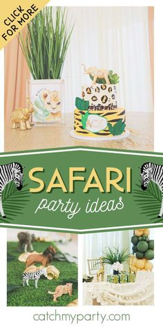 Dont miss this elegant safari baby shower! The cake is fantastic! See more party ideas and share yours at CatchMyParty.com #catchmyparty #partyideas #babyshower #safaribabyshower #safari #safarianimals #safariparty