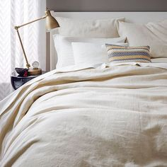 Bedroom linens- I like the gray and the linen colors- Belgian Flax Linen Duvet Cover + Shams | west elm