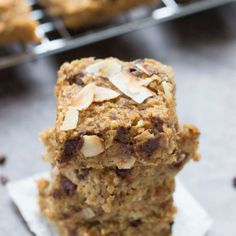 Quinoa Breakfast Bars.  These simple quinoa breakfast bars are flavored with toasted coconut and chocolate chips, making for a healthy and delicious on-the-go breakfast treat that you and your kids will love!