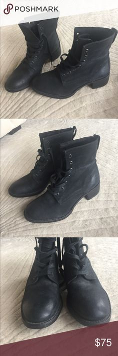 Vera Wang Lavender Label Moto boots Genuine black leather Moto boots by Vera wang lavander collection. Hard to find! Size 8.5. Worn one time! Vera Wang Lavender Label Shoes Combat & Moto Boots