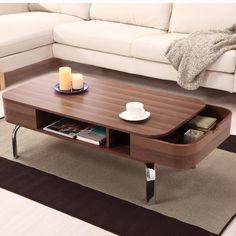 Hokku Designs Lawson Coffee Table in Glossy Lacquer Walnut