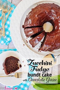 Zucchini Fudge Bundt Cake with Chocolate Glaze {OR} Chocolate Zucchini Bread ~ so moist and decadent, nobody will guess that it's hiding a pound of zucchini and 100% whole wheat flour   FiveHeartHome.com