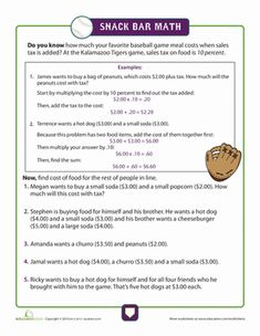 Nobody wants to pay sales tax, but grade is as good a time as any to learn it! Add some favorite baseball game snacks for fun and get cracking. Free Printable Math Worksheets, Money Worksheets, 1st Grade Math Worksheets, Life Skills Lessons, Teaching Life Skills, Teaching Reading, Junior High Math, Math Helper, Learning Money
