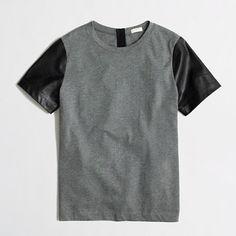 <ul><li>Poly, vegan leather sleeves.</li><li>Standard fit.</li><li>Machine wash.</li><li>Import.</li></ul>