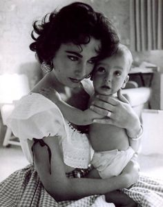 Young mum Elizabeth Taylor with the infant Christopher Wilding