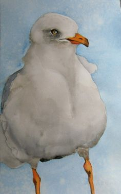 original bird painting bird art seagull watercolor by bMoorearts, $95.00