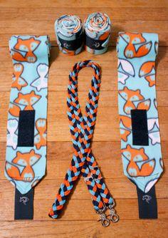 Foxes Polo Wraps & Braided Reins Set Blue by CounterCanterDesigns #horsetack #polowraps #braidedreins #customtack #westernriding #bluetack #orangetack