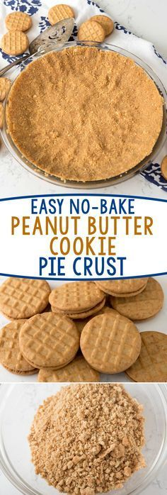 Easy No-Bake Peanut Butter Cookie Crust - this crust recipe is PERFECT for any no-bake pie! Use your favorite peanut butter sandwich cookies! (No Bake Chocolate Desserts) No Bake Desserts, Easy Desserts, Delicious Desserts, Dessert Recipes, Yummy Treats, Sweet Treats, Baking Desserts, Peanut Butter Sandwich, Peanut Butter Recipes