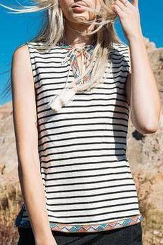 Shoptiques Products: Stripe Embroidered Tank