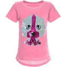 Mädchen Sommer T-Shirt Wendepailette Kurzarm Urlaub Freizeit Shirt 98-116 NEU