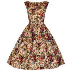 Vintage style Audrey dress - Spring floral - beige