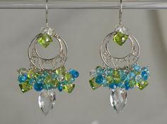 Rock Crystal Apatite Peridot Sterling Silver by skyvalleyjewelry, $159.00