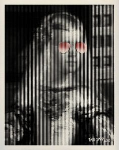 Menina Pink Sunglasses Barcode Pop Art Portrait