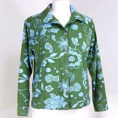 Fresh Produce XS Cruise Shirt Resort Jacket Olive Green Blue Cotton Hand Warmer #FreshProduce #ButtonDownShirt #ResortCruise