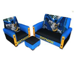 Check out this cool Batman toddler sofa set below. They are great for as room decor for any Batman theme room. The sofa set includes a sofa size x x inches, chair size x x inches and ottoman size inches square. Toddler Sofa Chair, Kids Sofa, Toddler Furniture, Nursery Furniture, Chair And Ottoman Set, Sofa Set, Chair Cushions, Bedroom Themes, Workout Exercises