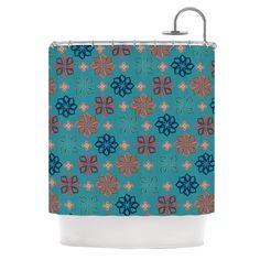 "Kess InHouse Jolene Heckman ""Turquoise Mini"" Teal Flowers Shower Curtain"