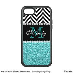 Aqua Glitter Black Chevron Monogrammed Custom OtterBox Symmetry iPhone 7 Case