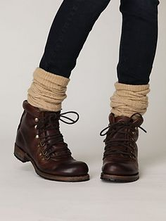 winter boots in the style of vintage ski or mountain climbing boots - a nice change from little biker boots! leave top of the boots unlaced Sock Shoes, Shoe Boots, Ankle Boots, Rain Boots, Biker Boots, Combat Boots, Cowgirl Boots, Western Boots, Look Fashion