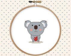 Counted cross stitch pattern - koala bear cross stitch - easy cross stitch pdf - cute animal cross stitch - modern cross stitch pattern by GentleFeather on Etsy https://www.etsy.com/listing/398626463/counted-cross-stitch-pattern-koala-bear