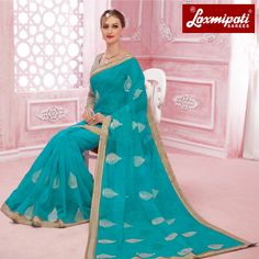 Buy this stunning sea blue with off white & black blouse along with rawsilk lace border by Look fresh, look chic! Laxmipati Sarees, Saree Shopping, Lace Border, Look Chic, Daily Wear, Bridal Collection, Sea, Fresh, Formal Dresses