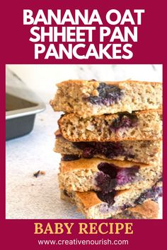 The Most Nutritious Banana Oat Sheet Pan Pancakes for Your Baby or Toddler. #babyfood #toddlerfoods #babyfoodideas #abydessert #toddlerdessert Homemade Baby Puree Recipes, Baby Recipes, Pureed Food Recipes, Recipe For 6, Banana Oats, Thing 1, Baking Tins, Healthy Baking, Tray Bakes