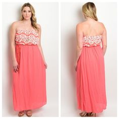 """✨Coming soon✨ Plus size Salmon maxi dress This sheer strapless dress features a lace bodice, empire cut and partial lining. 90% POLYESTER 10% SPANDEX. Length 59"""". Dresses Maxi"""