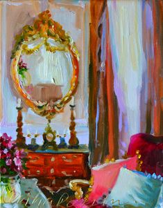 MIROIR D'OR print of painting by Cecilia by CECILIAROSSLEE on Etsy, $40.00