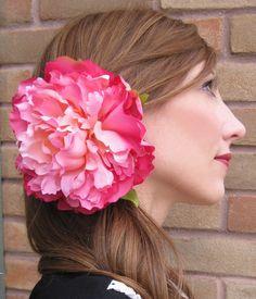 pink peony hair clip