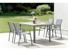 Stern Gartenmöbel Set Top silbergrau Tisch Teakplatte