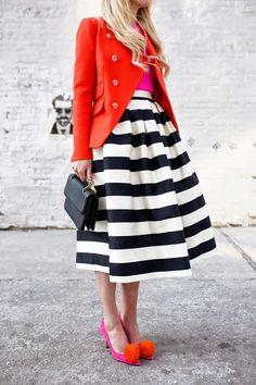 Stripes and color - pop your inner fashionista! Mode Style, Style Me, Jw Mode, Looks Street Style, Stripe Skirt, Mode Outfits, Dress To Impress, Midi Skirt, Style Inspiration